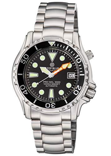 Dial Watch Round Bracelet Black - PRO MIL 1000 42MM Automatic Bracelet Black DIAL