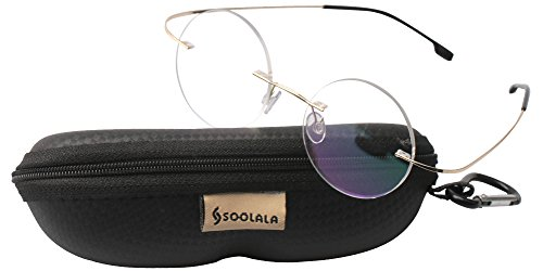SOOLALA Lightweight Titanium Stainless Round Circle Rimless Reading Glass, RGold, - Glasses Titanium