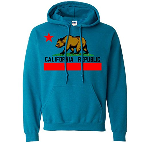 Dolphin Shirt Co California Republic Borderless Bear Flag Black Text Sweatshirt Hoodie - Antique Sapphire 3X-Large