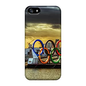 Sanp On Cases Covers Protector For Iphone 5/5s (olympic Rings Arriving By Barge In London Hdr)