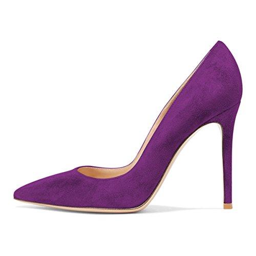 Fsj Donna Elegante Scarpe A Punta Pompe Tacco Alto Stiletto Slip On Scarpe Abito Formale Taglia 4-15 Us Pelle Scamosciata Viola