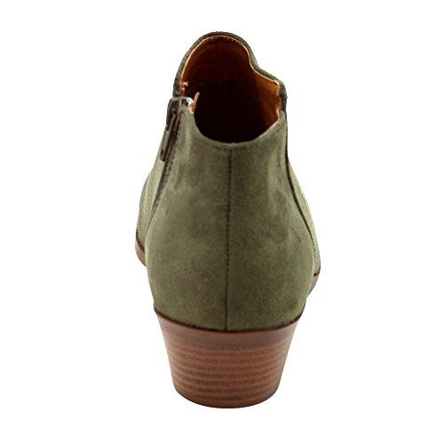 Soda Frauen Western Inside Zipper Gestapelte Heel Ankle Booties KHAKI FAUX WILD