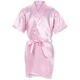 Mr & Mrs Right Kids\' Pure-Color Satin Kimono Robe For Spa Party Wedding Birthday