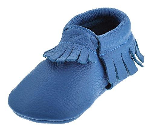 Sayoyo Baby Blue Tassels Soft Sole Leather Infant Toddler Prewalker Shoes (24-36 months, Blue)