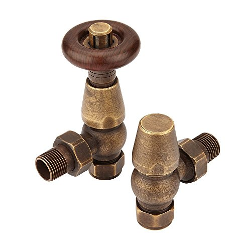 (Home Standard Chelsea Traditional Antique Brass Angled Central Heating Radiator Valves 15mm (Pair) | Thermostatic | Solid Brass )