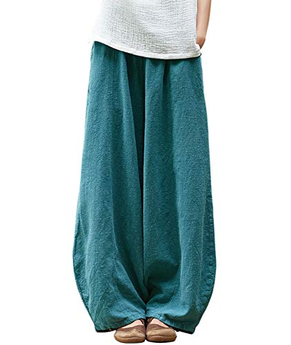IXIMO Women's Cotton Linen Wide Leg Pants with Elastic Waist Baggy Long Bloomers Trousers with Pockets (Style2_Blue, XL)