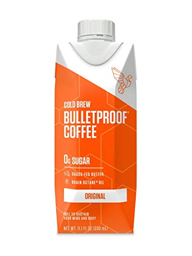 Bulletproof Original Cold Brew Coffee, Keto diet Friendly, Sugar Free, non-GMO, organic, with Brain Octane oil and Grass-fed Butter (Original) (12-Pack)
