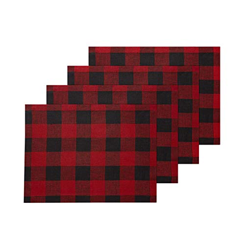 Solino Home 100% Pure Linen Buffalo Check Placemats - Red & Black Check Placemat Set of 4, 14 x 19 Inch Tablemat for Dinner