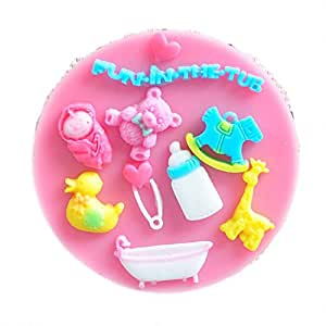 cc-jj–Baby Shower Party Fondant Moldes, jabón de silicona molde