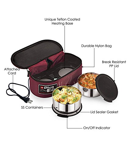 Cello Proton Electric Stainless Steel Lunch Box, 2-Pieces, Maroon Price & Reviews
