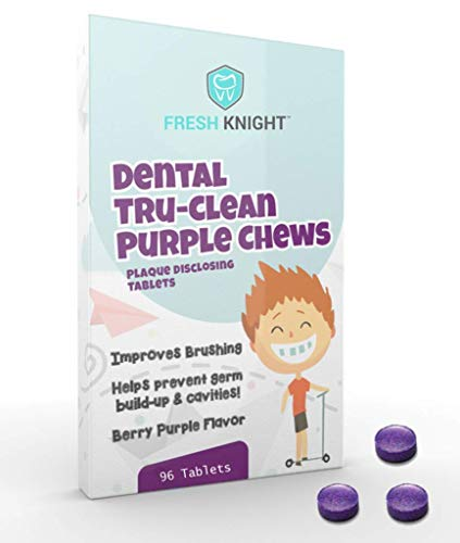 Fresh Knight Tru-clean Purple Chews, Plaque Disclosing Tablets 96 Count 3 Month Supply. Plaque Disclosing Tablets for Kids Brushing Teeth. Kids Teeth Tablets.