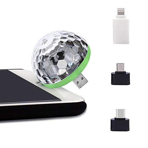 USB Party Lights Mini Disco Ball,Led Small Magic Ball Sound Control DJ Stage Light Colorful Strobe RGB Lamp For Christmas/Brithday/Wedding/Club/Karaoke Decorations,Suitable for mobile phones ()
