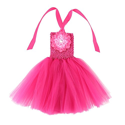 Wennikids Baby Girls TUTU Dress Crochet Tube Top Baby Pettiskirt with Match Flower Small Hot Pink (Best Etsy Wedding Dresses)