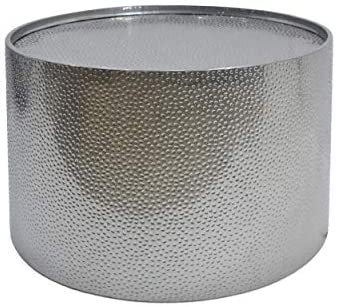 Christopher Knight Home Rache Modern Round Coffee Table with Hammered Iron, Silver, 26. 00 L x 26. 00 W x 17. 00 H