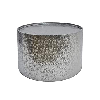 "Image of Home and Kitchen Christopher Knight Home Rache Modern Round Coffee Table with Hammered Iron, Silver, 26. 00"" L x 26. 00"" W x 17. 00"" H"