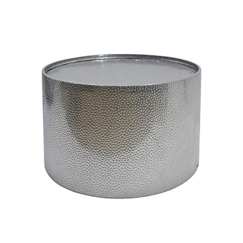 Rache Modern Round Coffee Table with Hammered Iron, Silver