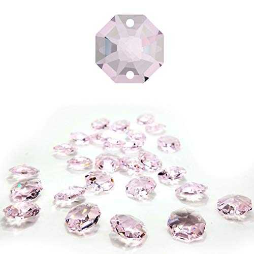 (CrystalPlace 12 Pcs Swarovski Crystal, 14mm Rosaline, Two Holes Strass Octagon Lily, Ideal for Jewelry Making, Chandelier Parts, Arts Crafts)