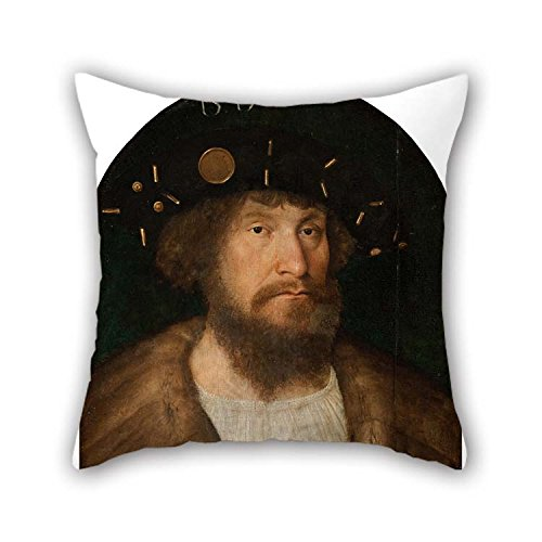 beeyoo Throw Pillow Covers 20 X 20 inches / 50 by 50 cm(Two Sides) Nice Choice for Dance Room Teens Study Room Floor Car Wedding Oil Painting Michel Sittow - Portrait of The Danish King Christian II ()