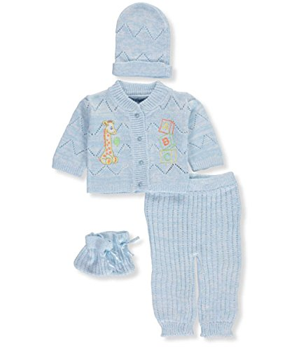Knit Baby Layette (Little Beginnings Baby Boys' 4-Piece Knit Layette Set - Blue, 0-6 Months)