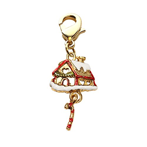 Gingerbread House Charm (Whimsical Gingerbread House Charm Dangle In Gold)