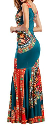 Tank Folk Womens Sleeveless Long Cromoncent Green Printed Dresses Africa Tribal YawFq