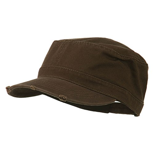- Otto Caps Garment Washed Distressed Military Cap - Dk Brown OSFM