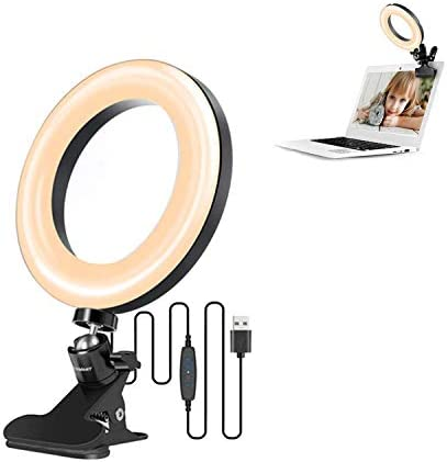 "Video Conference Lighting Kit, Light for Monitor Clip On, 6.3"" LED Selfie Ring Light for Remote Working, Distance Learning, Zoom Call Lighting, Self Broadcasting and Live Streaming"