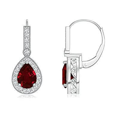 Angara Platinum Pear Shaped Ruby Earrings - July Birthstone Earrings KYB2682i
