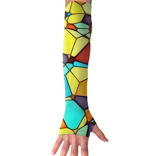 HBSUN FL Unisex Abstract Squares Geometric Figure Anti-UV Cuff Sunscreen Glove Outdoor Sport Riding Bicycles Half Refers Arm Sleeves by HBSUN FL