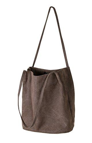 Hobo Bag Shoulder Casual Bag for Handbags Coffee Iswee Women Canvas Tote Bucket Y0dqUY