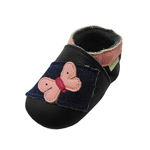 Sayoyo Suaves Zapatos De Cuero Del Bebé Zapatillas mariposa negro