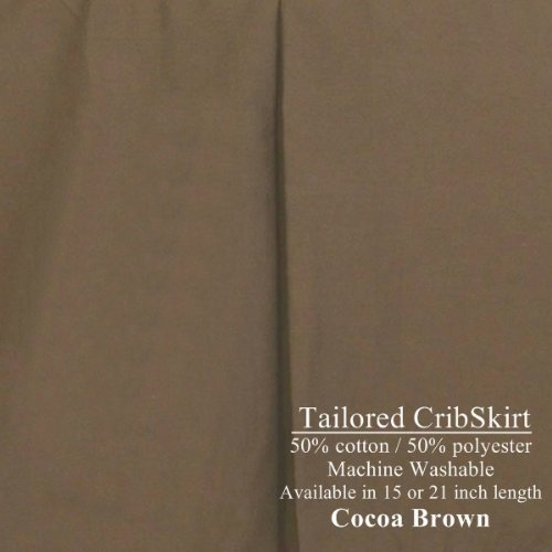 21 inch long Tailored Crib Dust Ruffle Cribskirt Color  Cocoa Brown