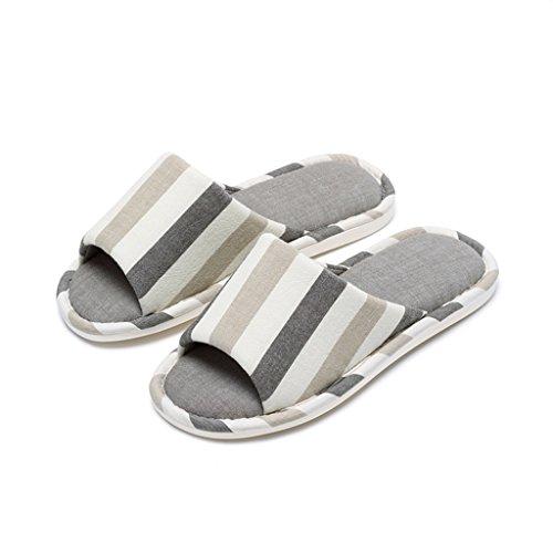 Hausschuhe Vier Jahreszeiten Baumwolle und Leinen Streifen Einfach zu Hause Paar Indoor Rutschfeste Schuhe Grau
