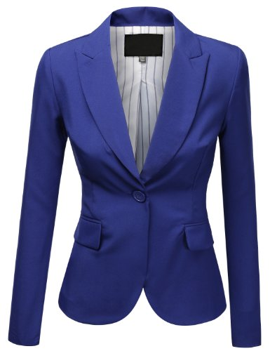 Slim Fit Cropped Boyfriend Blazer Jacket SMALL COBALT