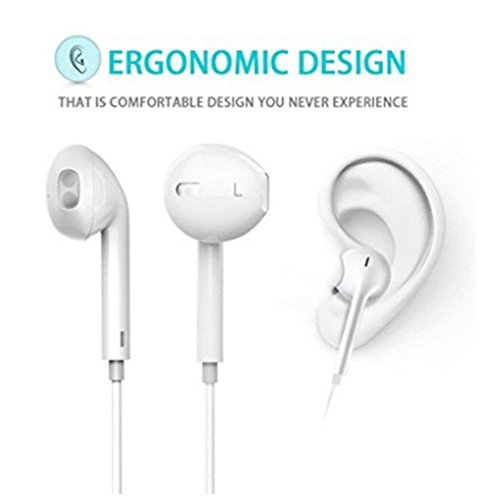 Earbuds, Macoo Compatible Earbuds Wired Headphones with Microphone New Earphones Made Compatible For Apple iPhone 6s 6 5s 5 4s 4 iPad  7 8 X Android All Smartphones