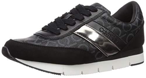Calvin Klein Women's Tea Sneaker, Black/Gunmetal CK Mono Metallic Box Smooth, 8 M US