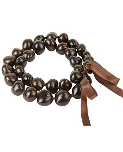 Barbra Collection Hawaiian Style Kukui Nut Lei Hibiscus Flower Hand Painted 32 Nuts (Brown)