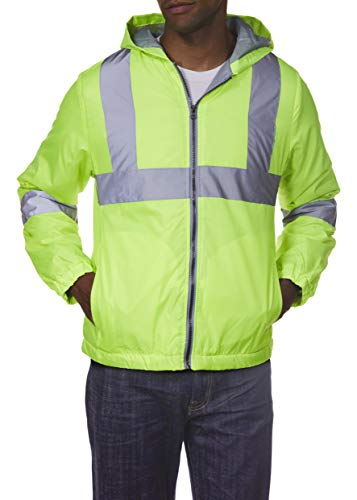 Arctic Quest Mens Lightweight Full Zip Hoodie Jacket with Reflective Detail Safety Yellow Medium