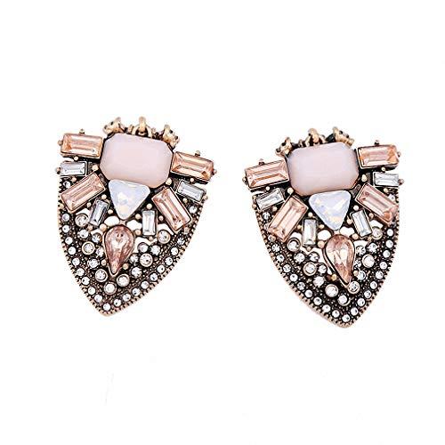 - Pink Geometric Crystal Earrings Women New Statement Earrings Alloy Vintage Jewelry Accessory Antique