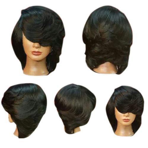 (FidgetFidget Women's Fashion Short Side Bang Straight Flip Bob Synthetic Wigs Hot Black)