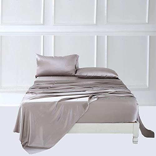 ZIMASILK 4 Pcs 100% Mulberry Silk Bed Sheet Set,All Side 19 Momme Silk (Queen, Silver Grey)