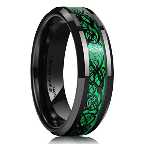 King Will Dragon 5mm Green Carbon Fiber Black Celtic Dragon Tungsten Carbide Ring Comfort Fit Wedding Band (13) by King Will