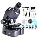 USCAMEL Bresser Kids Microscope Kit 40x-640x Magnification Compound Monocular Beginner Set for Student with Microscope Slides and Coverslips(Black)