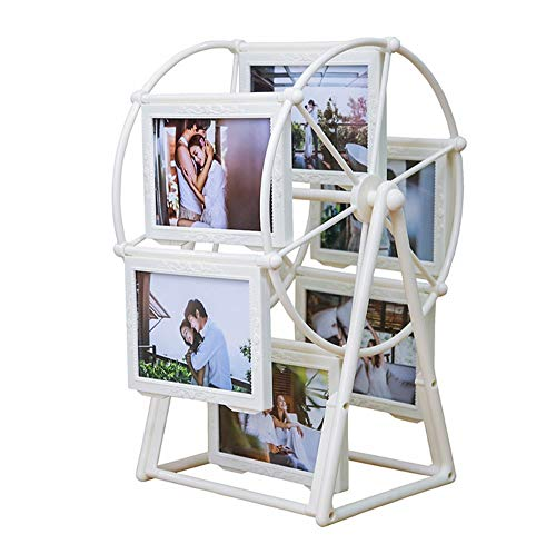 Rotating Ferris Wheel Photo Frame, Multiple Picture Frames with Glass Front, Fit for Stands Vertically on Desk Table Top, 12 Photos Shows for 3.5x5in and 2.5x3in Photographs (White) ()