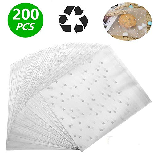 Self Adhesive Treat Bag Cellophane Treat Bags Self-adhesive Sealing Treat Bags White Polka Dot Treat Bags OPP Plastic Bag for Bakery, Candy, Soap, Cookie (5.5 x 5.5 inches, 200 pcs) ()