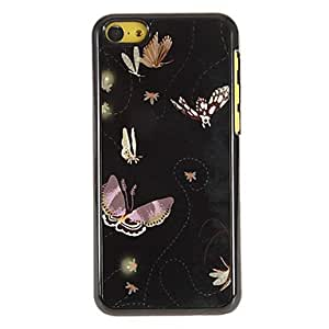 GJY Beautiful Flying Butterflies Pattern PC Hard Case with 3 Packed HD Screen Protectors for iPhone 5C