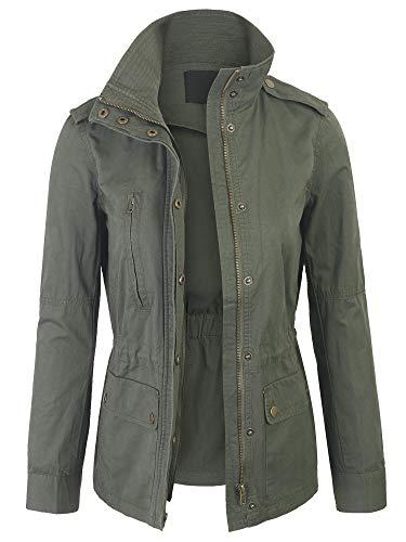 KOGMO Womens Zip Up Military Anorak Safari Jacket Coat -XL-Olive
