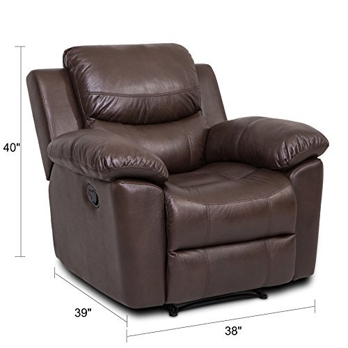 JUNTOSO 2 Sets Massage Recliner Single Sofa And Loveseat Air Leather Sofa For Living Room Lounge - Chocolate …