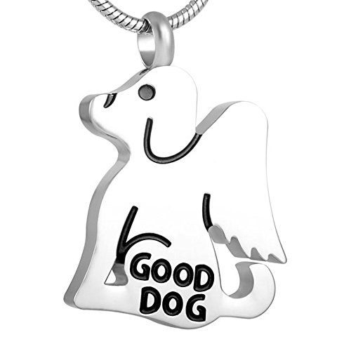 """""""Angel Guard Good Dog"""" Memorial Dog Pet Ashes Keepsake Cremation Animal Urn Jewelry Necklace +Free 20 Inch Chain (sliver)"""