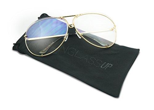 SunglassUP Oversize Round Double Bar Clear Lens Metal Aviator Plastic Cross Bar Glasses (Gold, - Glasses Dorky Frames